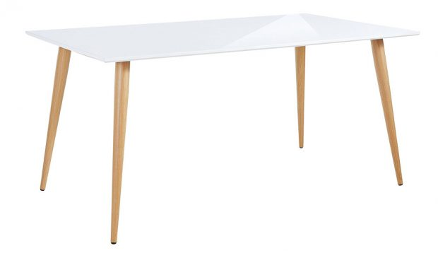 Jídelní stůl Støraa Canton , lesklý, bílý, deska zMDF, nohy zlaminovaného kovu, 90x75 x 160cm, 4 739 Kč, www.bonami.cz