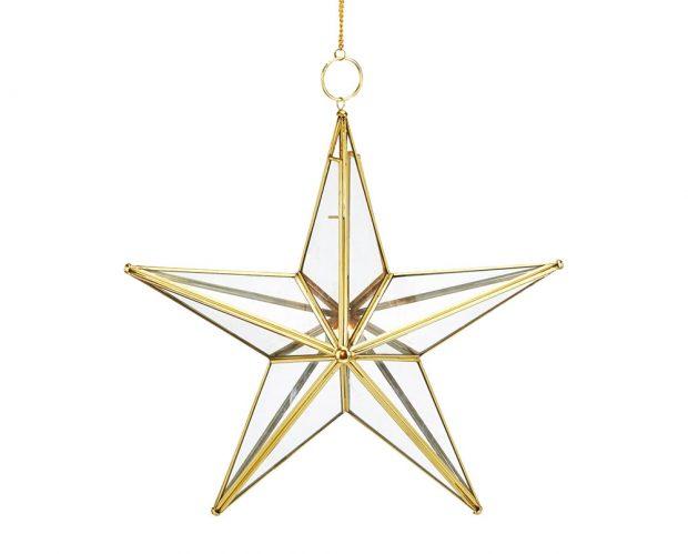 Závěsný svícen, zlatavý, tvar hvězdy, sklo, kov, 44 x 44 cm, řetízek sháčkem cca 40 cm, 1 199 Kč, www.cellbes.cz