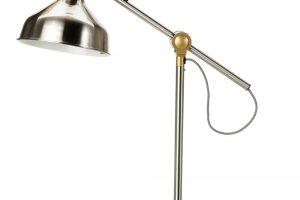 Pracovní lampa Ranarp, detaily: ocelové klouby, pruhované textilní kabely, výška 42 cm, průměr stínidla 19 cm, délka kabelu 159 cm, max. 11 W, 799 Kč, IKEA.