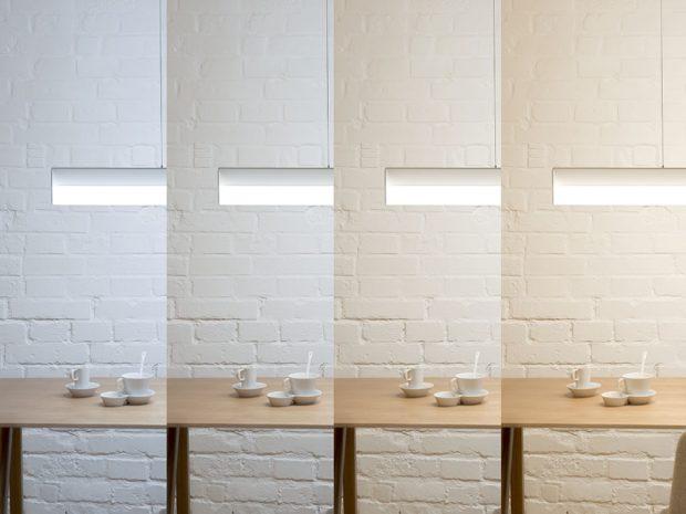 Ukázka osvětlení s různou teplotou chromatičnosti světla na svítidle SANT zdroj HALLA