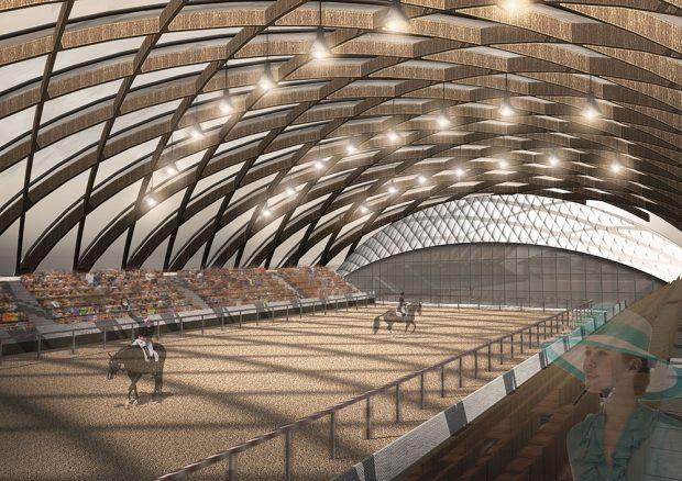 Jezdecká hala v Pardubicích, soutěžící Vojtěch Slavík; Vítěz odborné poroty v kategorii Dřevěné konstrukce – návrhy