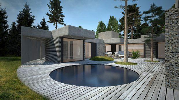 Rodinný dům v osadě Kersko, soutěžící hipposdesign; Vítěz odborné poroty v kategorii Moderní dřevostavby – návrhy