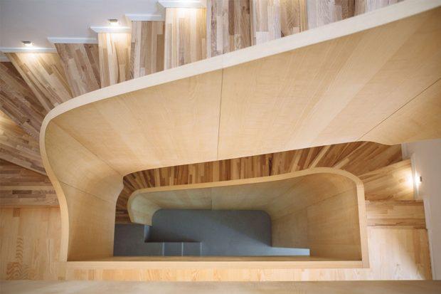 Interiér RD - Brno, soutěžící studio AEIOU s.r.o.; Vítěz veřejného hlasování v kategorii Dřevěné interiéry – realizace
