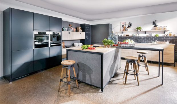 Kuchyně San Remo od Bauformat, světlý dub v odstínu písku, lak v hedvábném matu, nebo v dekoru čediče, www.oresi.cz