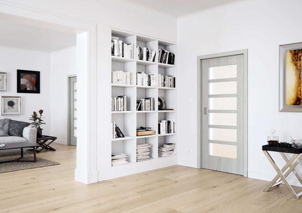 Dveře Mera Komfort 54, dřevěné dýhované, dekor dýha dub, sklo Float, odlehčená DTD deska, cena od 6490 Kč, www.sapeli.cz