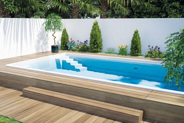 Keramický bazén řady Excelence model Vikomt 620, 6,20 x 3,28 x 1,50 m, objem 25 m3, cena na dotaz podle vybavení, www.mountfield.cz