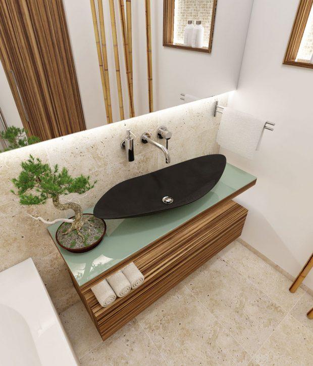Koupelna Fuji podle návrhu studia Perfecto Design, plocha 4,25 m², centrální osvětlení, podsvícení stropu, nábytku, zrcadla aniky, www.perfecto.cz