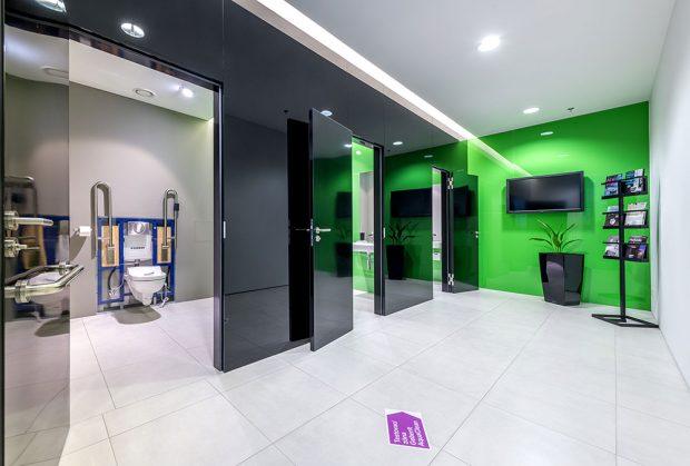 Testovací zóna sprchovacích WC AquaClean poskytuje dostatek soukromí. Foto Geberit