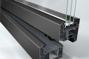 Nárožní pohled na variantu Schüco LivIng s metalickou úpravou povrchu. FOTO Schüco CZ