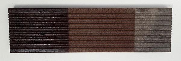obr. část prkna z terasy s postupnou ukázkou ošetření ZDROJ COLORLAK