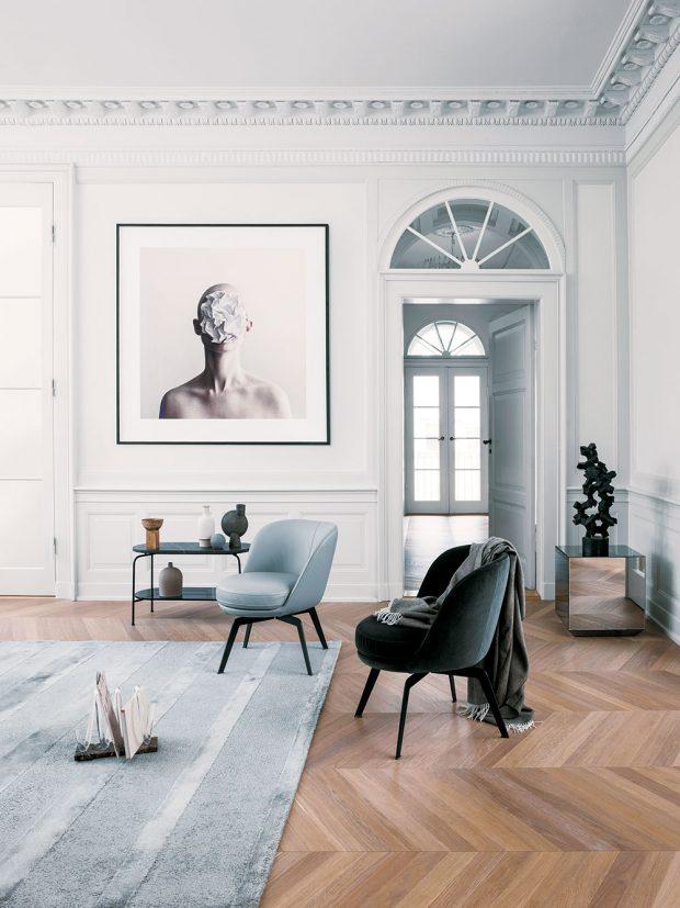 Křeslo Rolf Benz 562, design This Weber, oceněno cenou Iconic Award, kovové nebo dřevěné podnoží, potah vmnoha barevných variantách, cena na dotaz, www.rolf-benz.com