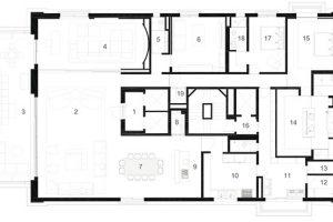 Půdorys 1 vstupní hala 2 obývací pokoj 3 terasa 4 domácí kino 5 toaleta 6 pracovna 7 jídelna 8 vinárna 9 přípravna 10 kuchyň 11 prádelna 12 ložnice 13 spíž 14 hlavní koupelna 15 hlavní ložnice 16 služební vchod 17 ložnice 18 koupelna 19 skladovací místnost