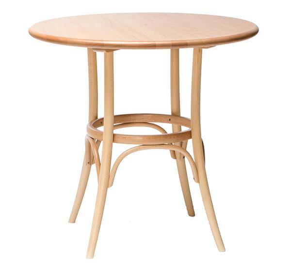 Stůl 152 (Ton), podnož tvoří masivní ohýbané dřevo, ve dvou velikostních provedeních a několika barevných provedeních, cena 8 600 Kč, www.ton.eu