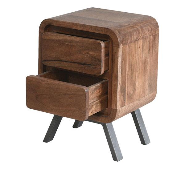 Noční stolek z kolekce Retro, akáciové dřevo, kovové nohy, 38 x 45 x 63 cm, cena 3 900 Kč, shop.perfecthome.cz