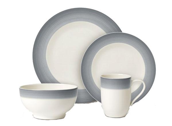 Porcelánová souprava For Me & You z kolekce Colour Life (Villeroy & Boch), design Gesa Hansen, porcelán, 2 x dezertní talíř, mělký talíř, hrnek, miska, cena 2 930 Kč, www.luxurytable.cz