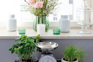 Scitem avkusně pojala Kristýna květinovou výzdobu. Stříbrný servírovací stolek postavený uokna je zdruhé ruky, mramorový parapet okna situovaného na východ je novým prostorem pro dekorace. FOTO FH STUDIO