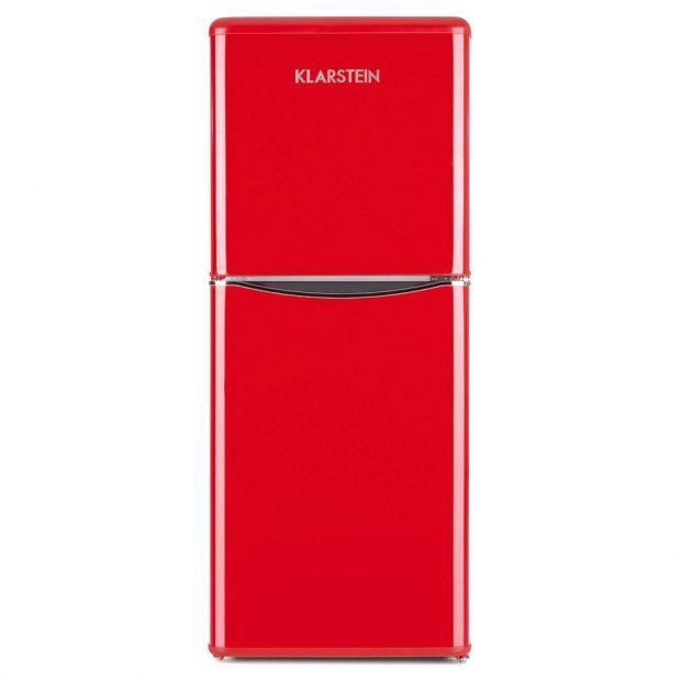 Klarstein Monroe XL Red kombinovaná chladnička smrazničkou přináší vzpomínku na 50. léta, energetická třída A+, nízká hlučnost, 5 stupňů chladicího výkonu, šířka 45,5 cm, výška 129,5 cm, 8149 Kč, www.klarstein.cz