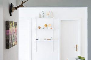 Votevřeném průhledu zobývacího pokoje do kuchyně dominuje bílá barva apokojové rostliny, které mají vbytě výborné podmínky. FOTO JURAJ STAROVECKÝ