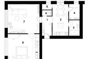 SOUČASNÝ STAV 1 chodba 2 kuchyně 3 koupelna 4 pracovna 5 komora 6 WC 7 obývací pokoj 8 ložnice
