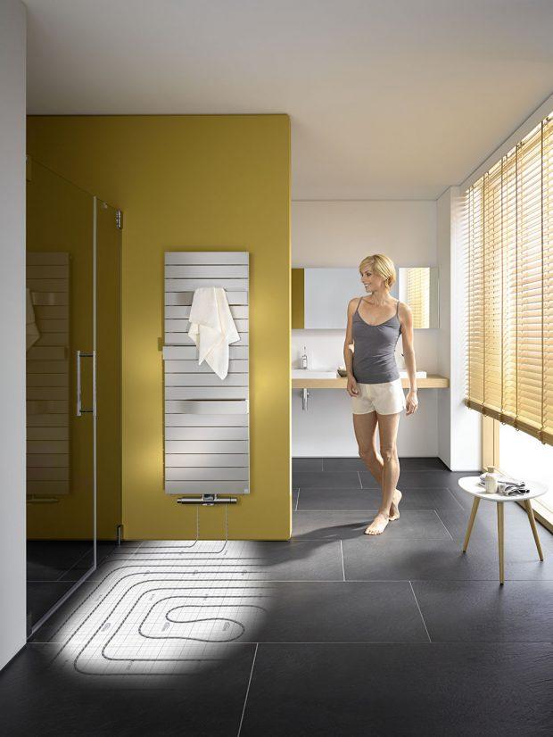 Na obr. připojovací sada x-link – spojení podlahového vytápění spolu s designovým radiátorem. foto Kermi