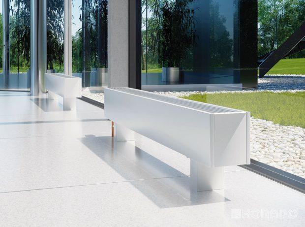 Otopné lavice Koraline svysokou účinností ipři nízkých teplotních spádech jsou předurčeny jako ideální tělesa pro vytápění tepelnými čerpadly. www.korado.cz
