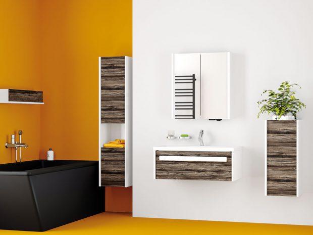 Kolekce koupelnového nábytku Caseto kombinuje mechanicky odolné 3D lamino se strukturou akresbou dřeva aboky ve vysokém lesku vbílé či vmatné antracitové barvě. www.drevojas.cz