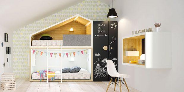 Kompozice dětského pokojíku (Lifetime), kde nechybí ani postel ve tvaru plážového domku a indiánské týpí, nábytek je vyrobený zborovice, velikost postele je 181 x 207 x 207 cm, www.girafa.cz FOTO LAGRAMA