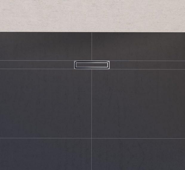 Spád podlahy sprchového koutu může být navržen různě v závislosti na typu dlažby. Odpad a kryt kanálku lze instalovat hned vedle stěny. Foto Geberit