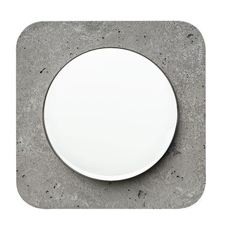 Berker R.1 série vypínačů jde proti proudu asbírá designová ocenění. Netradiční tvar amateriály, zde dekor beton. Více na www.hager.cz