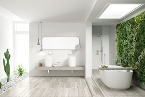 Zelené stěny, jinak také nazývané vertikální zahrady, budou slušet modernímu ajednoduchému interiéru azajímavou variantou je iumístění vkoupelně. FOTO SHUTTERSTOCK