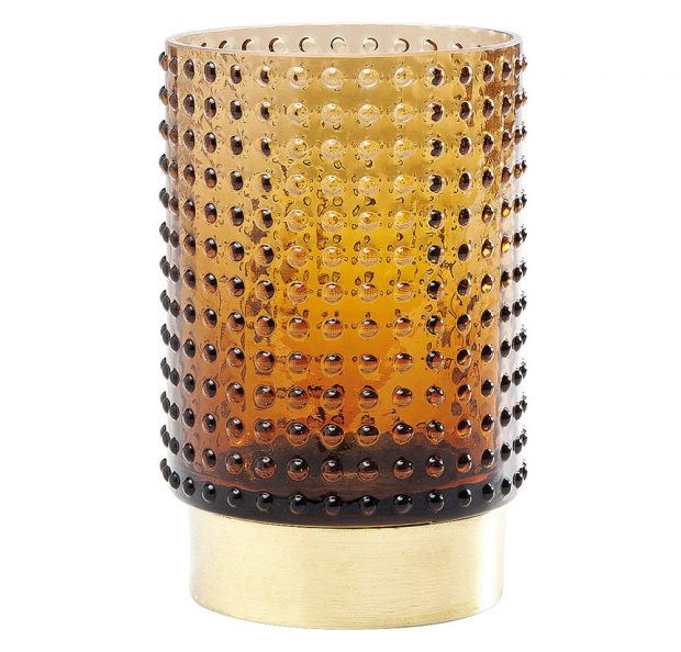 Retro Barfly, barvené sklo akartáčovaná mosaz, 9 x 13,5 x 9 cm, 699 Kč, www.kare.cz