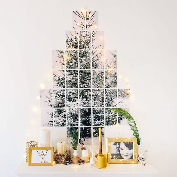 Stromek vyskládaný zmalých kousků fotografií bude vypadat nevšedně azároveň elegantně. Pokud máte doma fotografa, dopřejte mu seberealizaci. Fotky poskládejte do tvaru stromečku, přidejte jemný světelný řetěz, ktomu pár osobních ivánočních dekorací amáte ideální zimní zátiší pro minimalisty. FOTO DEERS PHOTOS