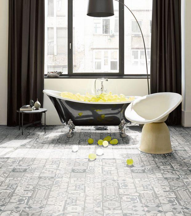Vinylová podlaha Parador 9.6 ornamentic greyvybočuje zřady vinylových krytin, které jsou obvykle se vzory adekory dřeva. www.hornbach.cz