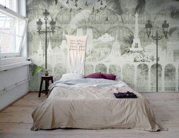 Digitálně tištěná tapeta Plume Paris zkolekce Traveller, design Magdalena Lundkvist, cena na dotaz, www.arki.cz FOTO MR. PERSWALL