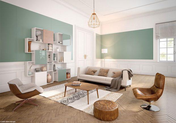 Foto: ©AGC Glass Europe, obložení stěn a knihovny, Matelac a Lacobel Green Pastel