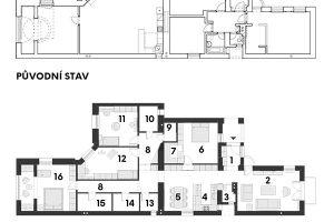 Současný stav 1 předsíň 2 obývací pokoj 3 komora 4 kuchyň 5 jídelna 6 pokoj pro hosty 7 šatník 8 chodba 9 sklad 10 dětská koupelna 11 dětský pokoj 12 dětský pokoj 13 WC 14 prádelna 15 rodičovská koupelna 16 rodičovská ložnice