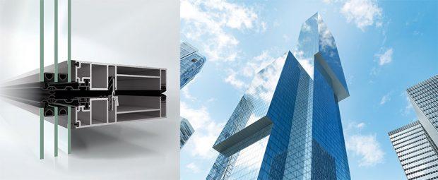 Fasáda Schüco UDC 80 SG působí zvenku velice impozantně díky velkorysému celoskleněnému vzhledu fasády; zevnitř vypadá jako klasická modulová fasáda s pohledovou šířkou pouhých 80 mm. Zdroj Schüco CZopná a také paralelně posuvná křídla s celkovou pohledovou šířkou pouhých 80 mm. Zdroj Schüco CZ