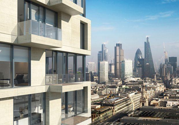 Schüco UDC 80: V kombinaci s balkony vytvářejí vložené, mechatronicky ovládané výborně těsnicí posuvné dveře ASE 80 TC funkční design výškových rezidenčních budov. Zdroj Schüco CZ