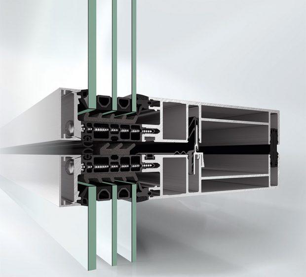 Nová fasáda Schüco UDC 80 nastavuje nový standard energetické úspornosti, s hodnotami Uf do 0,86 W/(m²K) včetně vlivu spojovacích prvků. Zdroj Schüco CZ