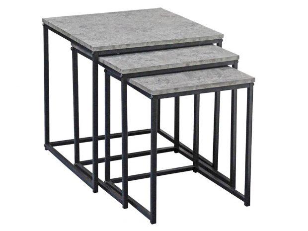 Sada odkládacích stolků Rock, deska zkompozitního dřeva vdekoru beton, podstavec zčerného kovu, 40 × 42 × 40 cm, 35 × 39 × 35 cm, 30 × 36 × 30 cm, 699 Kč, www.moebelix.cz