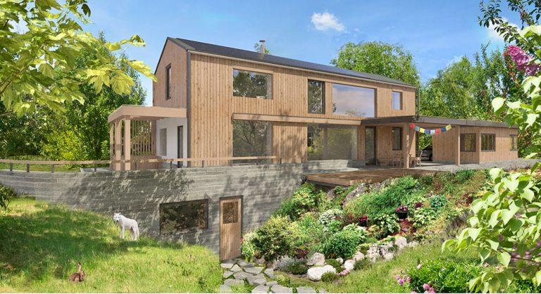 Inteligentní rodinný dům s elektrickým vytápěním, fotovoltaickou elektrárnou a bateriovým úložištěm se staví v Omicích u Brna