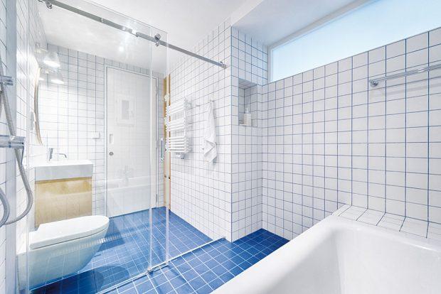 Majitelé chtěli do prostoru koupelny dostat vanu isprchu. Architekti vytvořili tzv. mokrou zónu uzavřenou skleněnými dveřmi, kde je vyspádovaná podlaha, takže se voda nedostane do suché zóny. Koupelna je obložená obkladem 10 x 10 cm avyspárovaná modře. FOTO BENEDIKT MARKEL ADOMINIK KUČERA