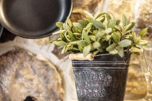 Kamenný obklad, nádobí zavěšené na kovových hácích na stěně aplechové květináče srostlinami na dřevěných policích tvoří kuchyň podle Romaniných představ. FOTO JIŘÍ HURT