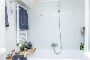 Koupelna je obložená bílým mozaikovým obkladem adoplněná dřevěnými aproutěnými prvky. FOTO JIŘÍ HURT