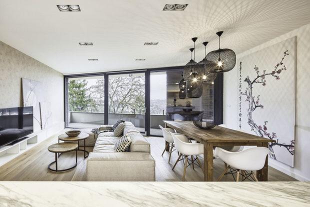 obývací pokoj s terasou.