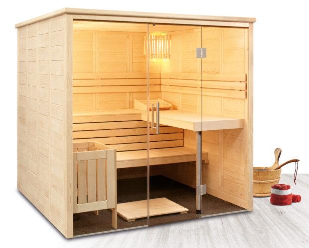 Designová finská sauna Freya z výběrového dřeva severského smrku