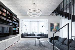 pohledové betonové stropy v obývacím pokoji