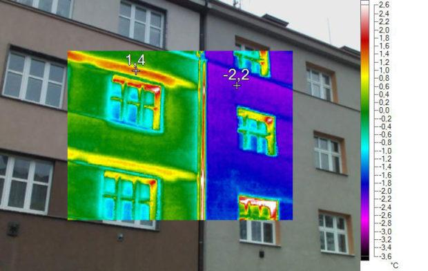 Termovizní snímek fasády