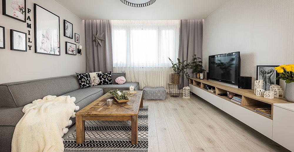 Vydařená rekonstrukce panelákového bytu v nadčasovém severském stylu