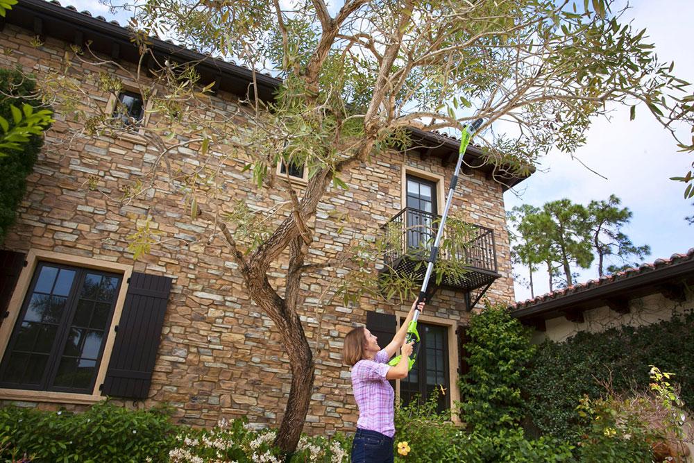 S AKU prořezávačem větví Greenworks G40 PS20 40 V pohodlně dosáhnete do koruny stromu a můžete přitom stát oběma nohama pevně na zemi. Komfort při práci zabezpečuje také pohodlná opěrka předloktí, beznářaďové napínání a automatické mazání řetězu. ZDROJ MOUNTFIELD